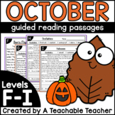 First Grade Guided Reading Passages for October Levels F-I