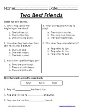 First Grade HM Comprehension Tests - Themes 1-5