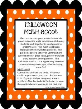 First Grade Halloween Math Scoot