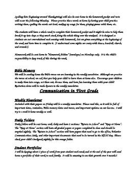 First Grade Handbook; Communication with Parents