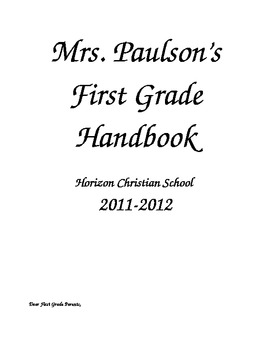 First Grade Handbook; Communication with Parents