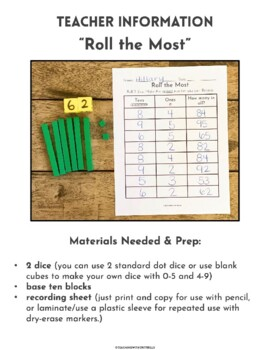 First Grade Hands-On Place Value Practice using Base Ten Blocks