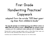 First Grade Handwriting Practice/ Copywork