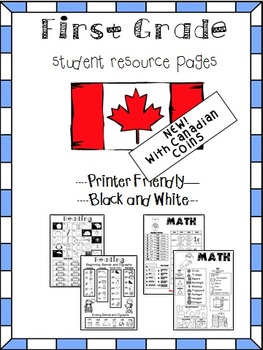 CANADIAN COIN Kindergarten and First Grade Help Pages for Reading and Math