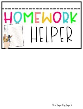 Kinder, First, and Second Grade Homework Assistant / Helper - EDITABLE