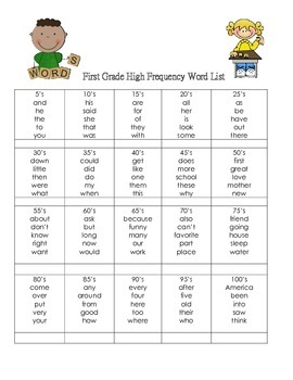 First Grade High Frequency Word Club Game