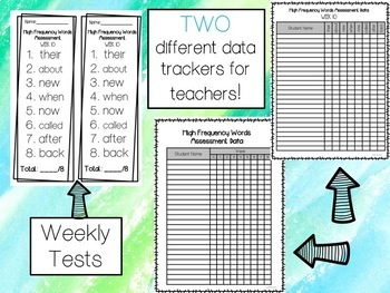 First Grade High Frequency Word Homework and Assessments (1st Nine Weeks)