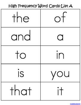 First Grade Sight Words List A (Literacy First) Word List Homework Packet