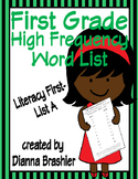 First Grade Sight Words List A (Literacy First) Word List Homework Packet