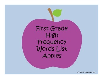 First Grade High Frequency Words - Apple Theme