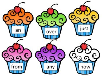 First Grade High Frequency Words - Cupcake Theme