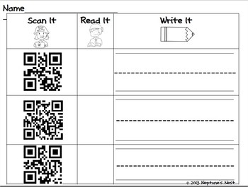 First Grade High-Frequency Words Scan It, Read It, Write It QR Codes Package 4