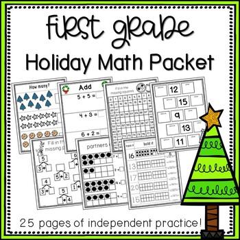 First Grade Holiday Math Packet {NO PREP!}