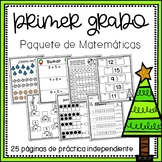 Spanish First Grade Holiday Math Packet {NO PREP!}