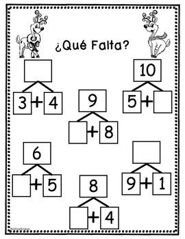 Spanish First Grade Holiday Math Packet {NO PREP!}