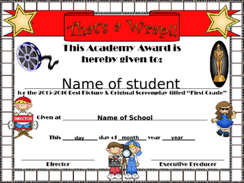 First Grade Hollywood Themed End of Year certificate
