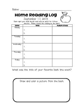 First Grade Home Reading Logs
