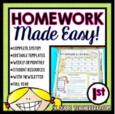 First Grade Homework EDITABLE
