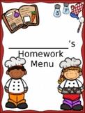 Homework Menu-1st Grade
