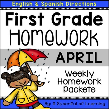 First Grade Homework - April (English and Spanish Directions)