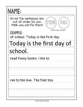First Grade Homework *Beginning of the Year Homework*