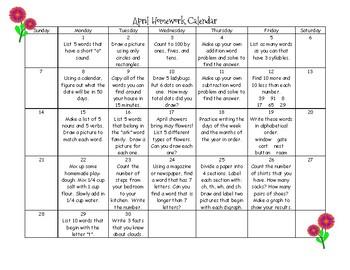 First Grade Homework Calendar - April 2019