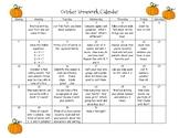 First Grade Homework Calendar - October 2018