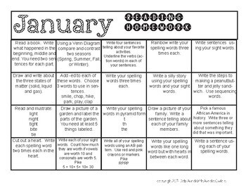 First Grade Homework Calendars for the whole year!