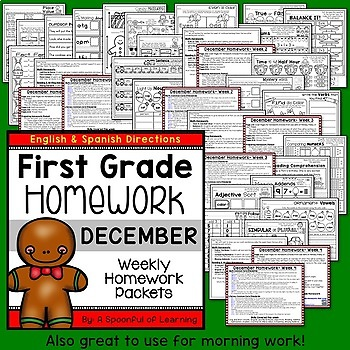 First Grade Homework - December (English and Spanish Directions)