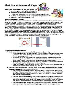 First Grade Homework Expectations