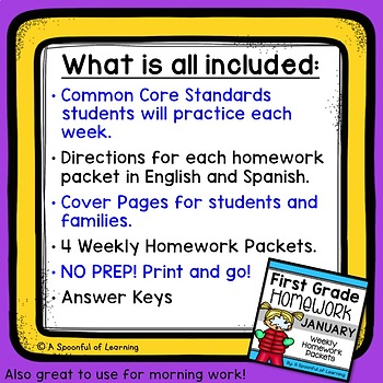 First Grade Homework - January (English and Spanish Directions)