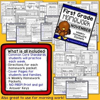 First Grade Homework - November