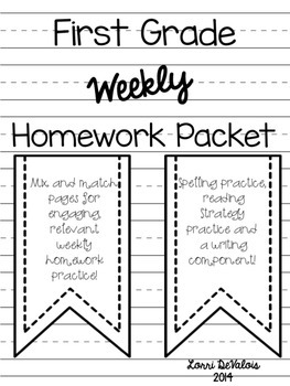 This is an image of Adaptable First Grade Homework Packets Printable