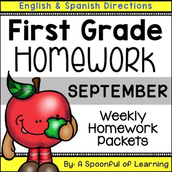 First Grade Homework - September (English and Spanish Directions)