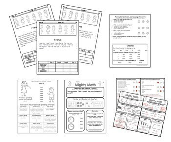 First Grade Homework Shape Up {Weekly CC Aligned Homework for Reading and Math}