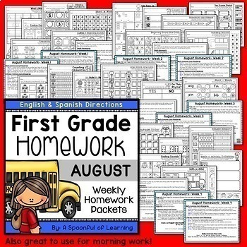 First Grade Homework Year Long BUNDLE - English and Spanish Directions