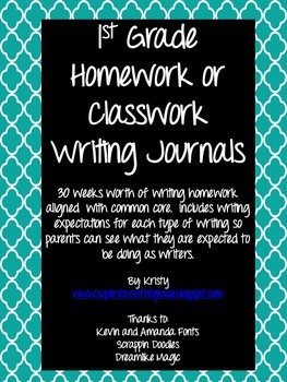 First Grade Homework/Classroom Writing Journal