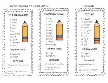 First Grade Houghton Mifflin Spelling Lists