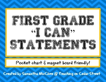 "First Grade ""I Can"" Statements"