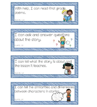 First Grade I Can... Statements Common Core English Language Arts