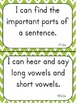"First Grade ""I Can"" Statements for ELA EDITABLE!"
