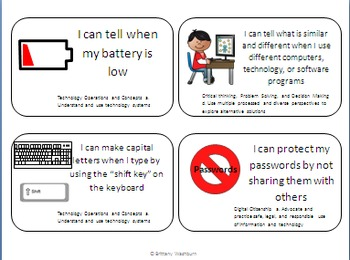 First Grade I Can Statements for Technology Standards- skill building