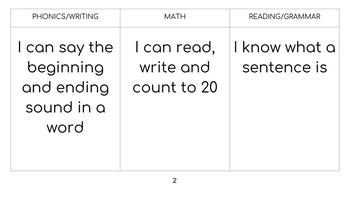 First Grade I can Targets