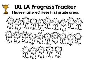 First Grade IXL Language Arts Tracker