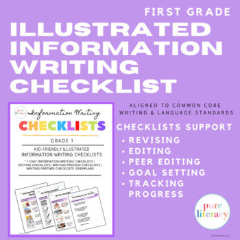 First Grade Illustrated Information Writing Checklists