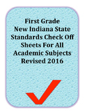 Revised 2016 First Grade Indiana Standards For All Subjects Check Off Sheet