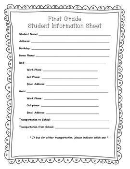 First Grade Information Sheet