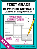 Writing Prompts for First Grade {Informational, Narrative, & Opinion BUNDLE}