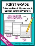 1st Grade Writing Prompts {Informational, Narrative, & Opinion Writing BUNDLE}
