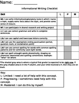 First Grade Informational Writing Rubric Checklist- Common CORE aligned